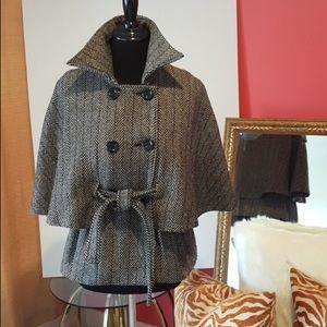 Cejon Herringbone Wool Blend Cape Jacket